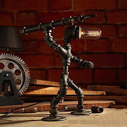 Pkfinrd Industria Loft Vintage Decoración Lámpara Creativa Hierro Tubo Edison LED Luz de Mesa Lámpara de Café Barra de Agua Tabla Robot Lámpara (Color : B)