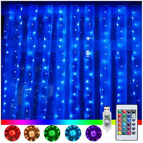 Ollny Window Curtain Lights 240 LED 16 Colors Changing Fairy Twinkle String Lights USB Powered product image