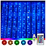Ollny Window Curtain Lights 240 LED 16 Colors Changing Fairy...