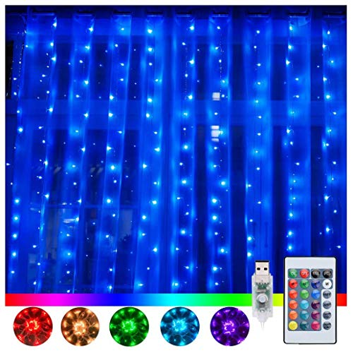 Ollny Window Curtain Lights 240 LED 16 Colors Changing Fairy Twinkle String Lights USB Powered with Remote for Bedroom...
