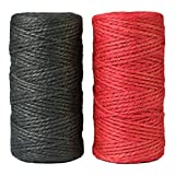 aufodara 2 Rollo 100 m Cuerda de Yute Natural Rojo Negro 2 mm Manualidades Jardín Cordón decorativo para DIY decoración, etiqueta colgante, tarjeta de felicitación, regalos, jardinería, artesanía