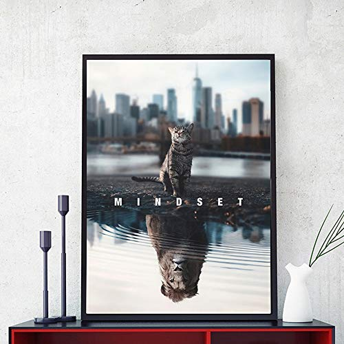 wZUN HD-Druck Text Tier Leinwand Malerei Mentalität ist Alles inspirierende Katze Löwe Leinwand Kunst Bild 60x90 Rahmenlos