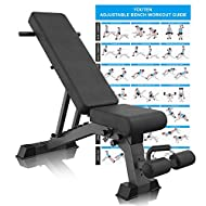 YouTen Adjustable 9 Positions Incline Decline Sit Up Bench Improved Cushion for Exercise, Handles for Dragon Flag, Rated Full Body Workout Foldable Bench for Dragon Flag