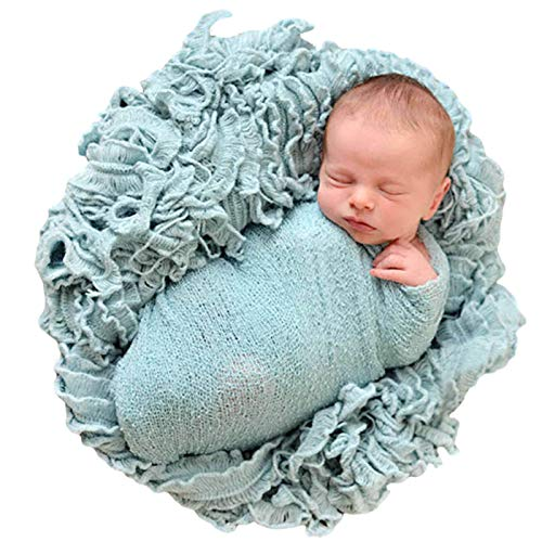 Sunmig Newborn Baby Stretch Wrap Photo Props Wrap-Baby Photography Props (Blue-Grey)