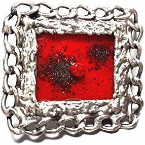 artigianale Hebilla para cinturón de 4 cm, cadena de cristal Murano rojo, color plata, hebillas de metal o piedras o estrás o esmaltes o cristales muranos y 1 llavero de 1 cm