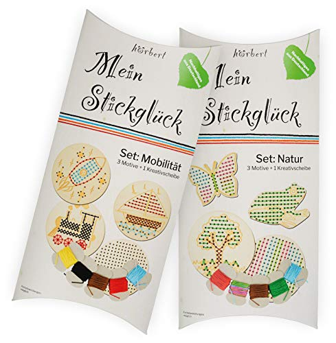 hörbert Mein Stickglück - Stickscheiben aus Holz mit Nadel und Fäden, Verschiedene Motive, Sticken Lernen...