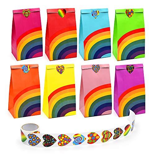 Yibang 40 Stück Geschenktüten, Regenbogen Partytüten Bunte Candy Tüten, Geschenktüten Kindergeburtstag mit 100 Kleine Aufklebern, Papiertüten klein für Kindergeburtstag/Hochzeit/Giveaways/Party