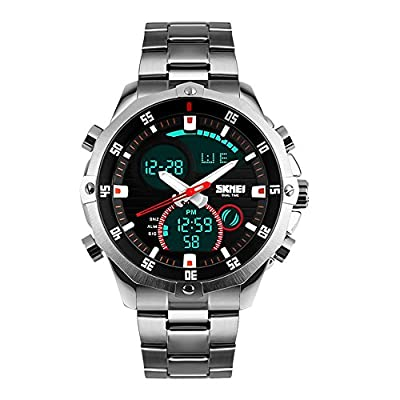SKMEI Mens Military Wrist Watch Analog Digital Watch Stainless Steel Waterproof LED Stopwatch Skmei Watches Men Silver