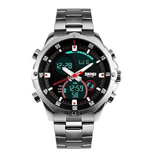 SKMEI Men's Watch Analog Digital Display Watch Silver with Stainless Steel Band