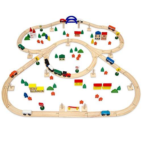 EYEPOWER Trenino di Legno + Linea Ferroviaria + Accessori | ca 5m di binari per Treno | 130 Pezzi | infinitamente espandibile combinabile Gioco Creativo