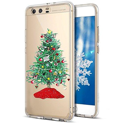 Kompatibel mit Huawei P10 Hülle Schutzhülle Silikon Transparent mit Weihnachten Schneeflocke Hirsch Muster Handyhülle Durchsichtige Backcover TPU Case Tasche Etui Bumper,Grün Weihnachtsbaum