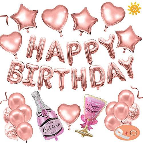 Globo de cumpleaños con champán, decoración de feliz cumpleaños de oro rosa, despedida de soltero, botella de vino, globo de látex, mujer, niña
