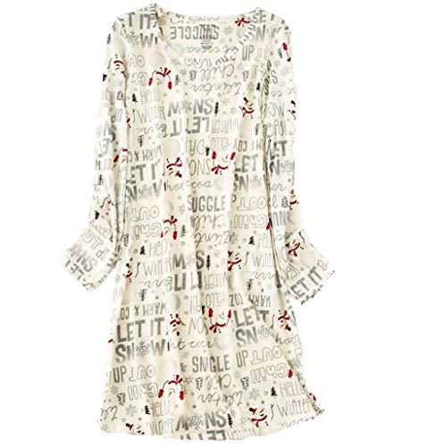 Amoy madrola Women's Nightgowns Cotton Long Sleeves Sleepwear Print Nightshirts XTSY109-Long White Snowman-S