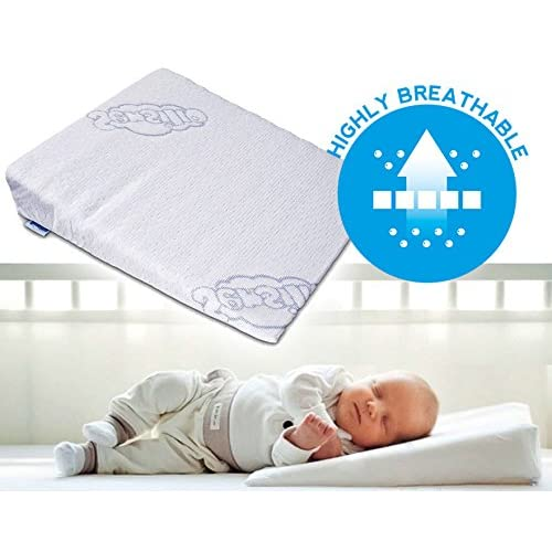 Cot Bed Toddler Sleep Safety Pillows GAX Baby Wedge Foam Pillow 1 Pack Basket Stroller Anti Reflux and Colic Congestion Universal Bassinet Pram Crib Moses