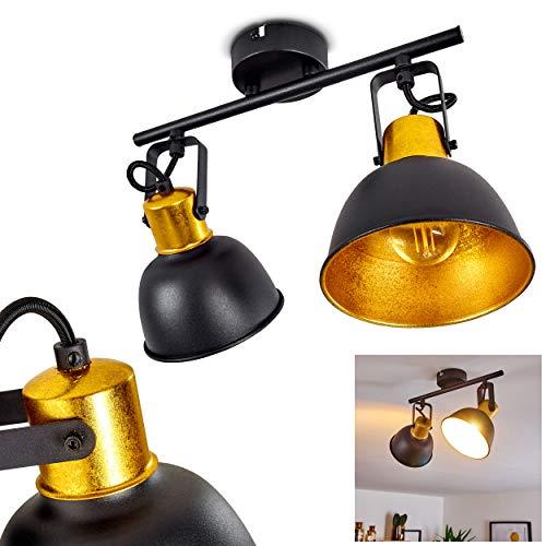 Plafoniera Blackburn,in metallo nero/oro, a 2 luci, con faretti orientabili, 2 lampadine E14 max. 25 Watt,retrò/vintage, adatta per lampadine a LED
