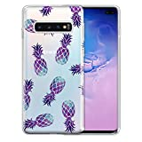FINCIBO Case Compatible with Samsung Galaxy S10+ / S10 Plus 6.4 inch, Clear Transparent TPU Protector Case Cover Soft Gel Skin for Galaxy S10 Plus (NOT FIT S10, S10E) - Purple Pineapple Pattern
