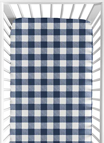 Sweet Jojo Designs Navy Buffalo Plaid Check Boy Fitted Crib Sheet Baby or Toddler Bed Nursery – Blue and White Woodland Rustic Country Farmhouse Lumberjack