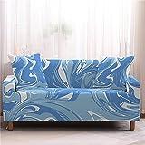 ZXZCHGN Patrón de mármol Azul, Cubierta de sofá Extensible, Cubierta de sofá 3D Lujoso Floral Estampado Flores Estiramiento Universal Settee Loveseat Couch Cover Sillón Cubierta con reposabrazos
