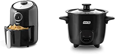 Dash DCAF150GBBK02 Compact Air Fryer Oven Cooker, Black & DRCM200BK Mini Rice Cooker Steamer with Removable Nonstick Pot, Keep Warm Function & Recipe Guide, Black