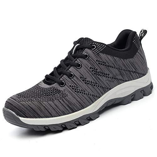 BESKEE Sicherheitsschuhe Herren Damen S3 Arbeitsschuhe Leicht Atmungsaktiv Sneaker mit Stahlkappe, Grau, 43 EU
