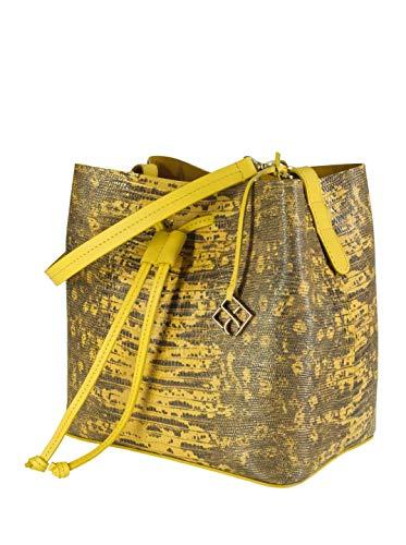 YOUBAG Alya Bucket S - handgefertigte Designer Umhängetasche für Damen aus italienischem Leder - edle Echsenprägung in gelb und grau
