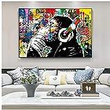 Mono escuchando música Pinturas artísticas de graffiti en la pared Carteles e impresiones artísticos Animales Imágenes de arte callejero Decoración del hogar