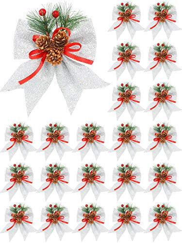6 Pieces Christmas Decorative Bows Glitter Christmas Bows Christmas Bow Knot with Pine Cone for Garland Indoor or Outdoor Holiday Decorations (Silver)