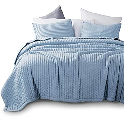 KASENTEX Quilt-Bedding-Coverlet-Blanket-Set, Machine Washable, Ultra Soft, Lightweight, Stone-Washed, Detailed Stitching - Hypoallergenic - Solid Color