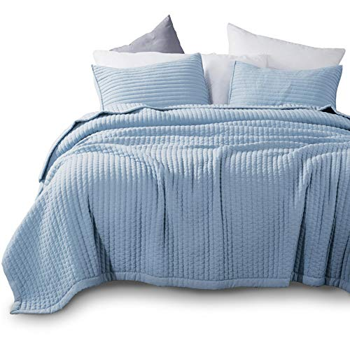 KASENTEX Quilt Mini Set-Stone Washed-Super Soft Bedspread-Light Weight-Hypoallergenic-White Down Alternative Microfiber Fill-Machine Washable-Solid Colors, Full/Queen + 2 Shams, Blue
