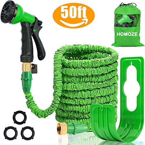 HOMOZE 50FT Garden Hose Expandable Garden Hoses Expanding Flexible Hose with Brass Fittings Valve 8 Function Spray Gun Nozzle Wall Holder and Storage Bag