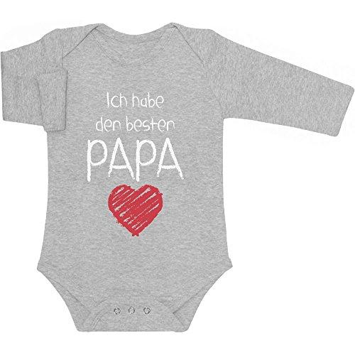 Ich Habe den besten Papa Geschenk für Vater Baby Langarm Body 50/56 (0-3M) Grau