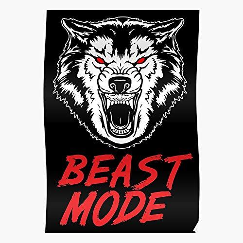 Revolve Gym Mode Beast Zyzz Fitness Bodybuilding Wolves Wolf Beeindruckende Poster für die Raumdekoration, gedruckt mit modernster Technologie auf seidenmattem Papierhintergrund