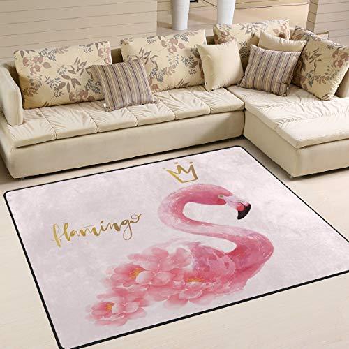 Mnsruu Tapis pour salon, chambre à coucher, motif flamant rose, 160 x 122 cm