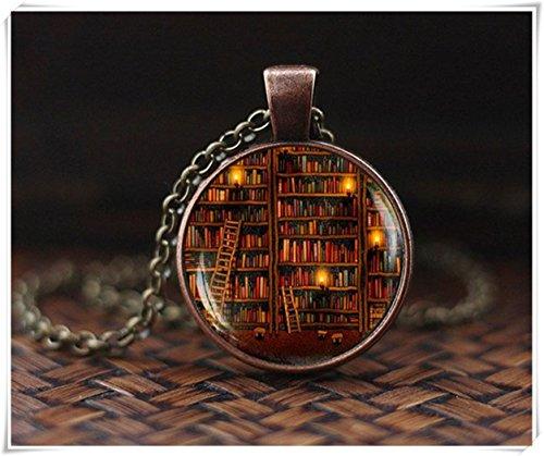 Bibliothekskette, Bücherkette, Bücherschmuck, Vintage-Bibliotheksbücher, Büchergeschenk, Schriftsteller, Lehrer, Geschenk, Oppel, Buchliebhaber, Halskette, ein schönes Geschenk