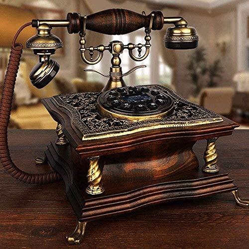 ZOUSHUAIDEDIAN Con Cable Viejo de la Manera Línea Fija de teléfono Antiguo decoración, Retro teléfono con Madera y Metal de Bronce clásico de Superficie for el Dormitorio, la Sala de Estar