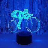 自転車3dナイトライトusb電源付きカラフルなタッチledビジュアルライトギフト装飾小さなテーブルランプリビングルーム子供のおもちゃクラックカラフル:タッチスイッチ