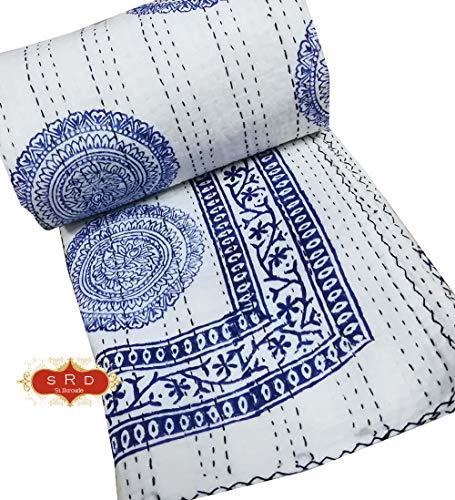 Silkroude Mooie Indian Art is hand blok afdrukken Organische Kleurrijke print kantha Quilt kantha beddengoed kantha deken sprei 100% katoen