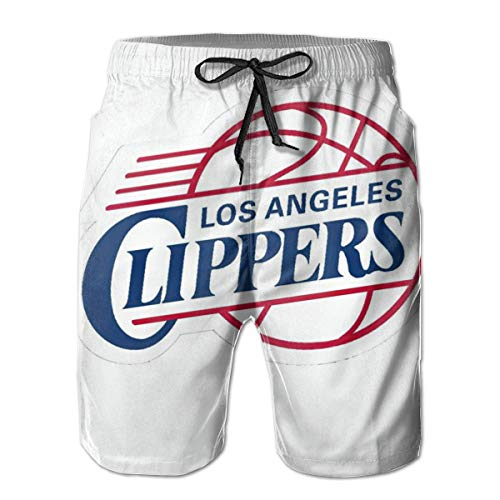 Los Angeles Clippers Men's Casual Shorts Classic Fit Drawstring Summer Beach Shorts with Elastic Waist and Pockets