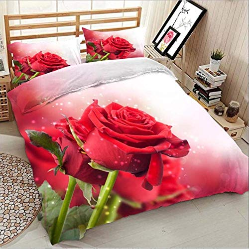 WGLG Double Bed Duvet Sets, 3D Digital Printing Red Rose Home Textiles King Size Duvet Cover And Pillow Case Single Gray