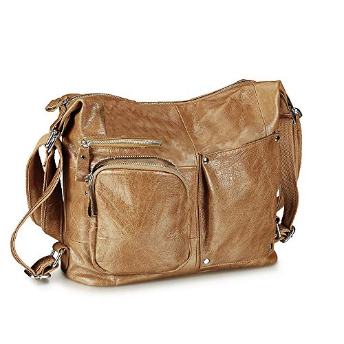 Lecxci Womens Large Multi-purpose Leather Sling Shoulder Purse Crossbody Travel Bag Hiking Day Backpacks (Apricot)