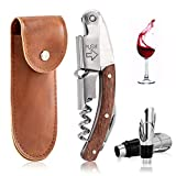 Waiters Friend Corkscrew Wine Opener with Professional Leather Case Corkscrew, Bottle Opener and Foil Cutter for Wine or Beer, Rosewood 3-in-1 Waiters Corkscrews Gift Set with Bottles Stopper & Pourer