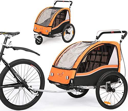 SEPNINE 2 En 1 Remolque De Bicicleta Infantiles 360° Giratorio Mul-Tifunction Cochecito De Dos Asientos Carrito De Transporte Con Freno De Mano Y Suspensión Naranja