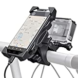 ParaPace 2-in-1 Universal Bike Handlebar Phone Mount with Camera Holder,360 Rotation Bicycle Motorcycle Cradle Clamp for iPhone Samsung Nexus HTC Action Cameras