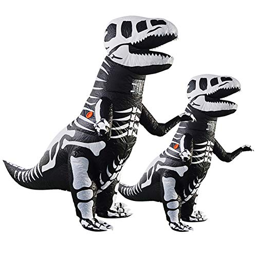 vlionzebra Inflatable Dinosaur Costume Fan Operated Halloween Fancy Suit for Adult & Kids(Skeleton Dinosaur,Adult)