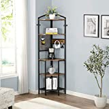 HOMYSHOPY 5 Shelf Corner Bookcase with Hanging Hooks, Industrial Tall Corner Shelves Metal Frame, Vintage Brown, 72.6-Inch