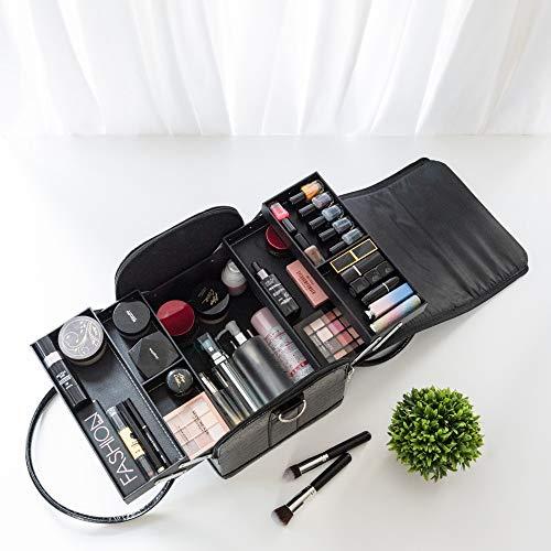 Amasava Kosmetikkofer Schminkkoffer Beauty Make-up Case,aus PVC-Leder,2 verfügbare Ebene,mit Schultergurt, 4 in 1 Beauty Make-up Case Schminkkoffer Kosmetikkoffer Schwarz