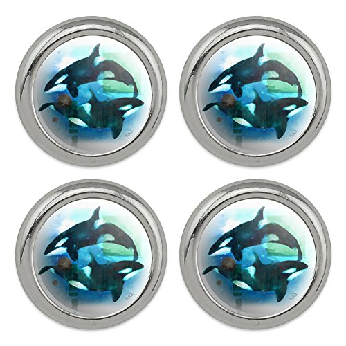 Orcas Killer Whales Watercolor Yin Yang Metal Craft Sewing Novelty Buttons - Set of 4