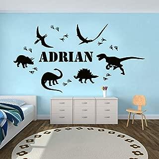 weiaikeke Huella de Dinosaurio Nombre Personalizado Vinilo Adhesivo de Pared decoración del hogar niño habitación calcomanías Personalizado extraíble DIY Mural 79x42 cm