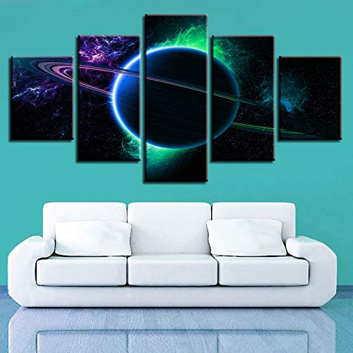 QAZWSY Modulaire canvas schilderij 5 stuks Cosmic Planet muurkunst schilderijen Decoratie Hd gedrukte landschap Poster 10x15 10x20 10x25cm Frame