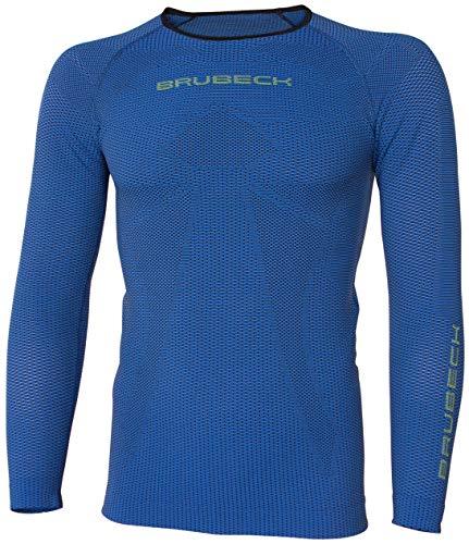 BRUBECK Herren Laufshirt atmungsaktiv | Langarm Funktionsshirt für Läufer Jogger | Longsleeve Men | nahtloses Langarmshirt | Shirt Running | 3D-Struktur | Dark Blue | Gr. XL | LS13000